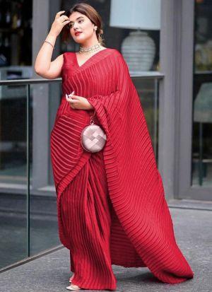 Captivating Red Vichitra Silk Saree
