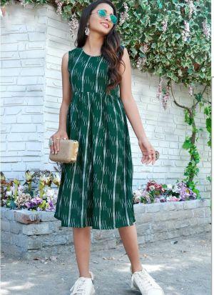 Casual Wear Dark Green Rayon Kurti