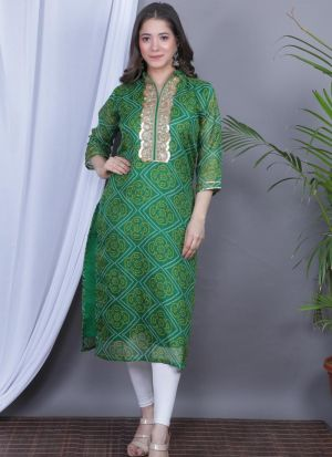 Casual Wear Green Lace Work Kurti