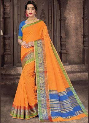 Casual Wear Orange Cotton Saree