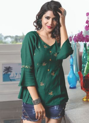 Causal Wear Dark Green Rayon Cotton Embroidered Top