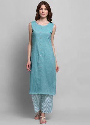 Causal Wear Light Blue Colour Sleeveless Kurti