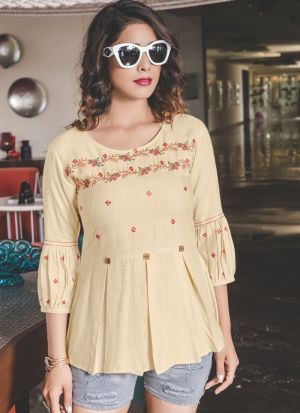 Causal Wear Light Yellow Rayon Cotton Embroidered Top