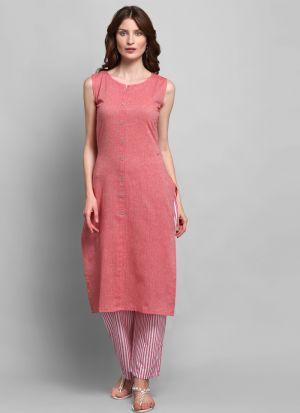 Causal Wear Rouge Colour Sleeveless Kurti