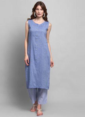 Causal Wear Tropical Blue Colour Sleeveless Kurti