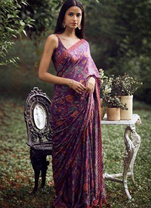 Impressive Digital Printed Purple Soft Silk Bollywood Saree