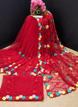 Chain Stitch Work Butterfly Net Saree