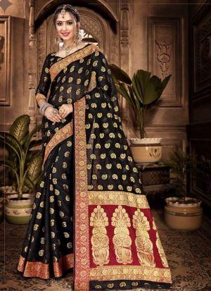 Chanderi Cotton Black Festive Wear Indian Traditional Saree