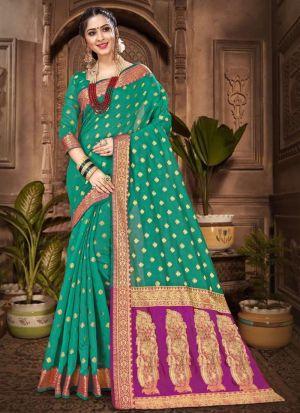 Chanderi Cotton Green Designer Traditional Saree