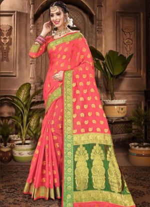 Chanderi Cotton Light Coral Festive Wear Indian Traditional Saree