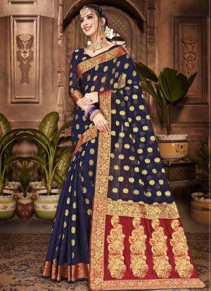Chanderi Cotton Navy Designer Traditional Saree