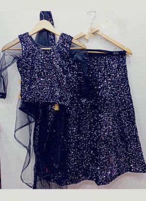 Charming Navy Blue Embroidered Lehenga Choli For Girls