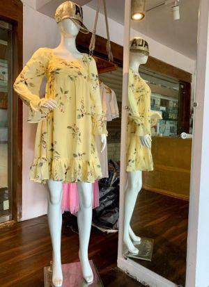 Chiffon Printed Yellow Modern Dress