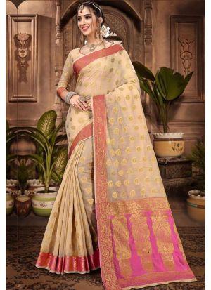 Chiku Chanderi Cotton Designer Indian Saree