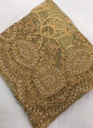 Chiku Heavy Net Embroidered Festive Wear Saree