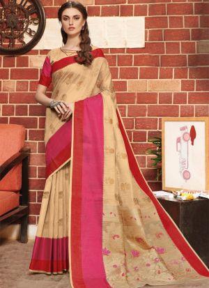 Chiku Linen Silk Designer Indian Saree