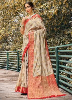 Chiku Naylon Silk Saree Special Wedding Edition