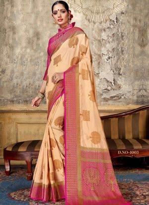 Chiku Nylon Silk Designer Sarees For Wedding