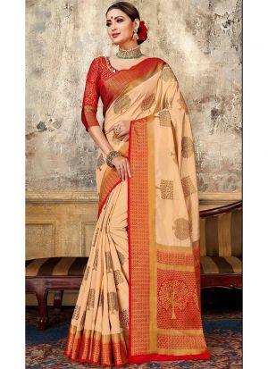 Chiku Nylon Silk Designer Traditional Saree Collection