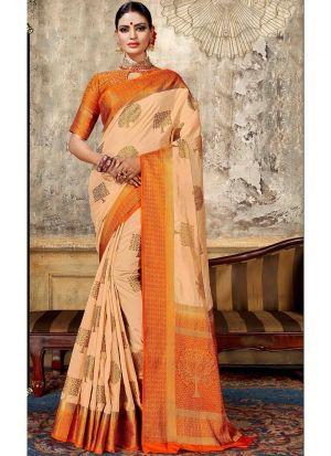 Chiku Nylon Silk Wedding Saree Collection