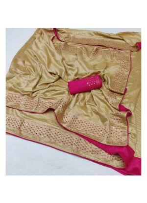 Chiku Silk Latest Designer Saree