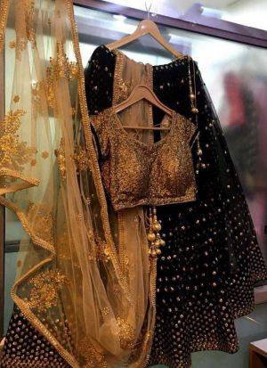 Classic Black Thread Work Party Wear Georgette Lehenga Choli