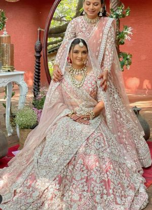 Classic Crepe Pink Wedding Wear Chain Stitch Lehenga Choli