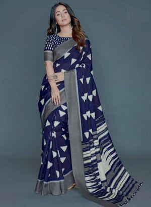 Classic Navy Crepe Silk Digital Printed Bollywood Saree