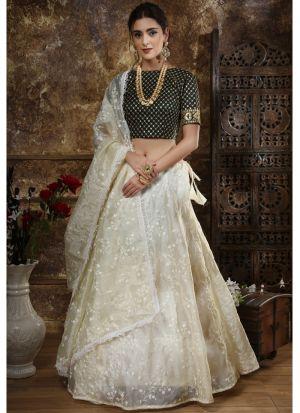 Classic Partywear Organza Off White Designer Lehenga Choli With Organza Dupatta