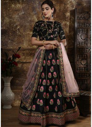 Classic Partywear Phantom Silk Black Designer Lehenga Choli