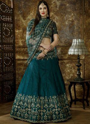 Classic Partywear Taffeta Satin Teal Green Color Designer Lehenga Choli