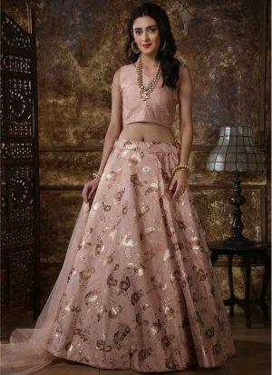 Classic Partywear Thai Silk Dusty Peach Designer Lehenga Choli With Net Dupatta