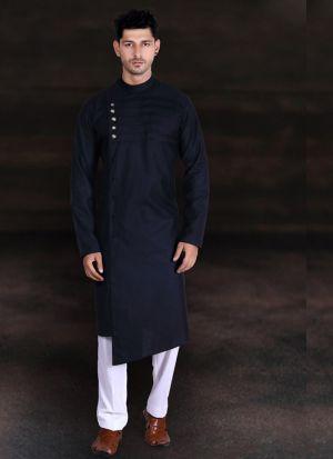 Classy Black Cotton Kurta Pajama