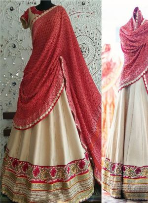 Classy Cream Color Multy Work Banglori Silk Lehenga Choli