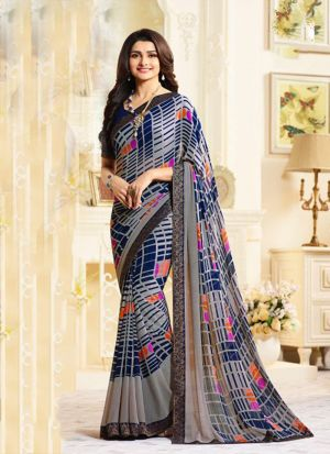 Classy Grey Georgette Printed Bollywood Style Saree
