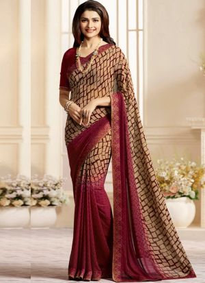 Classy Maroon And Cream Georgette Printed Bollywood Style Saree