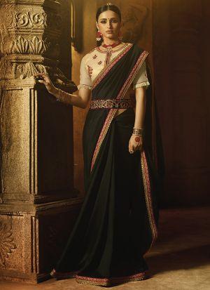 Classy Sana Silk Black Saree