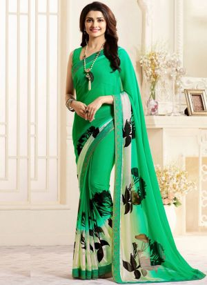 Classy Spring Green Georgette Printed Bollywood Style Saree