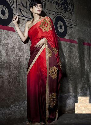 Coffee And Red Color Designer Saree In Satin Silk Pedding Georgette Fabric