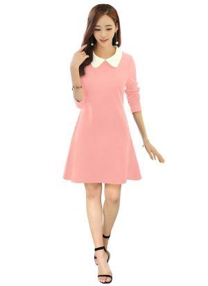 Collar Style Light Pink Short Dress