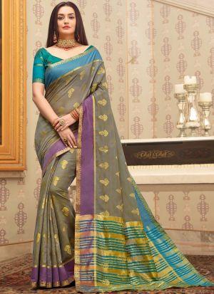 Cotton Handloom Grey South Indian Saree