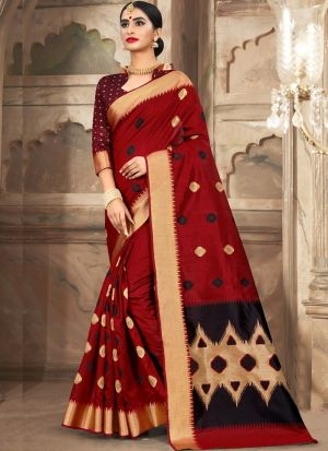 Cotton Handloom Maroon South Indian Sarees Collection