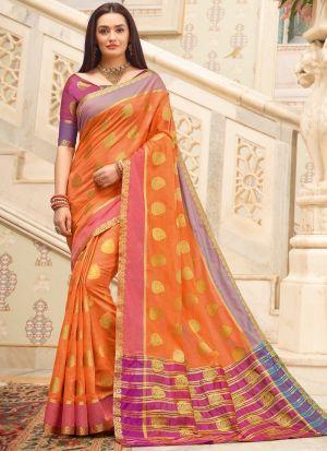 Cotton Handloom Orange South Indian Saree