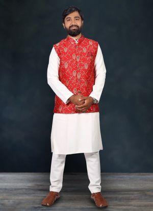 Cotton Kurta Pajama With Red Koti For Men