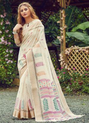 Cotton Printed Off White Saree
