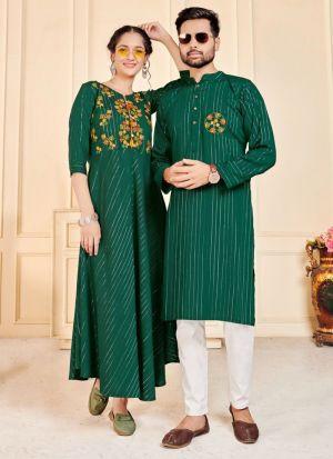 Couple Combo Dark Green Embroidery Set