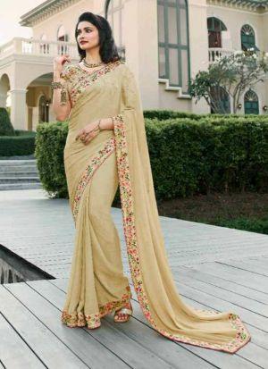 Cream Printed Vichitra Silk Designer Saree