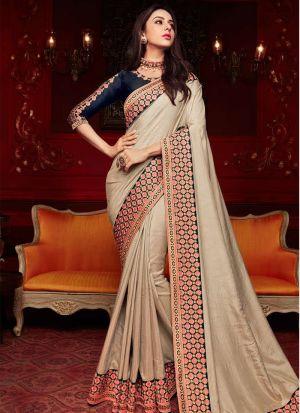 Cream Sana Silk Traditional Wear Saree