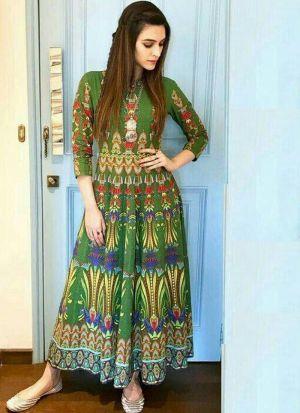Crystal Silk Bird Green Digital Printed Bollywood Gown