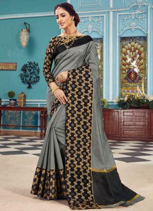 Crystal Silk Grey Festive Wear Indian Traditional Saree